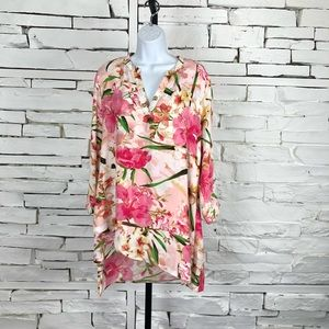 Zac & Rachel NWT Floral Long Sleeve Tunic Top 1384